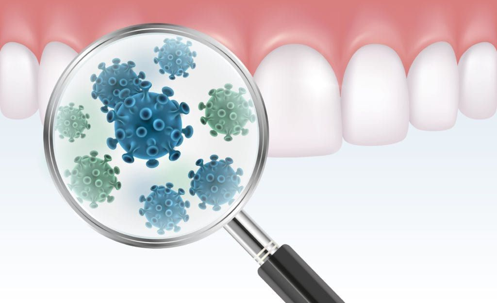 bacteria shown on teeth under magnifying glass
